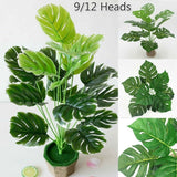 9/12 Heads  Large Tropical Monstera Palm Tree Leaves Artificial Plants Green Plastic Leaf Fake Plants Home Garden Decoration Accessories (Without flower pot)