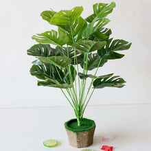 Load image into Gallery viewer, 9/12 Heads  Large Tropical Monstera Palm Tree Leaves Artificial Plants Green Plastic Leaf Fake Plants Home Garden Decoration Accessories (Without flower pot)