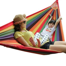 Load image into Gallery viewer, High Strength Portable Sleeping Hammock Backpacking Hiking Woven Cotton Fabric Camping Furniture