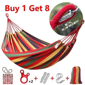 High Strength Portable Sleeping Hammock Backpacking Hiking Woven Cotton Fabric Camping Furniture