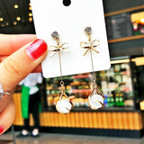 925 Sterling Silver Cat-Eye Crystal Earrings for Women Bowknot Sparkling Dangle Earring Gold Earrings Ladies Fashion Jewelry
