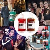 WARM SUNLIGHT 10Pcs 400ml Blood Drink Bag PVC Reusable Blood Energy Drink Bag with Syringe Vampire Cosplay Party Halloween Prop