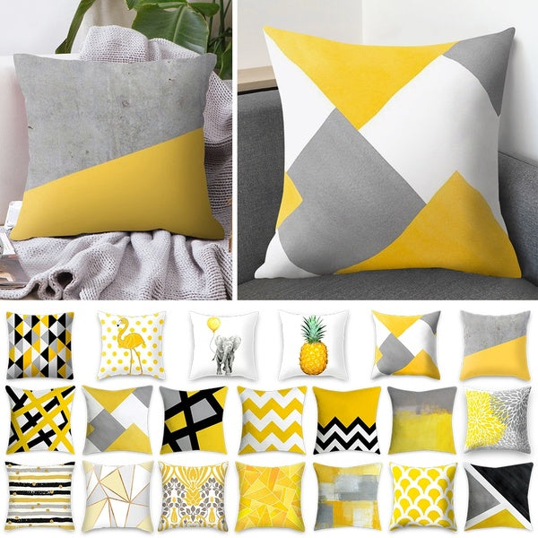 1 PC Yellow Polyester Pillowcase  Nordic Style Geometric Throw Pillow Cover sofa car cushion cover Home Decor 18x18 Inch