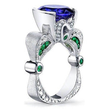 Load image into Gallery viewer, Dazzling 925 Sterling Silver Natural   Sapphire Emerald Diamond  Ring  Anniversary Gift Engagement Bridal Wedding Rings Jewelry