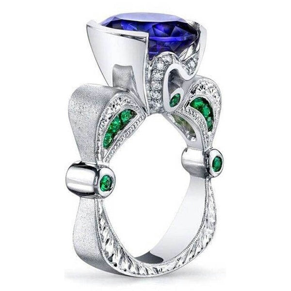 Dazzling 925 Sterling Silver Natural   Sapphire Emerald Diamond  Ring  Anniversary Gift Engagement Bridal Wedding Rings Jewelry