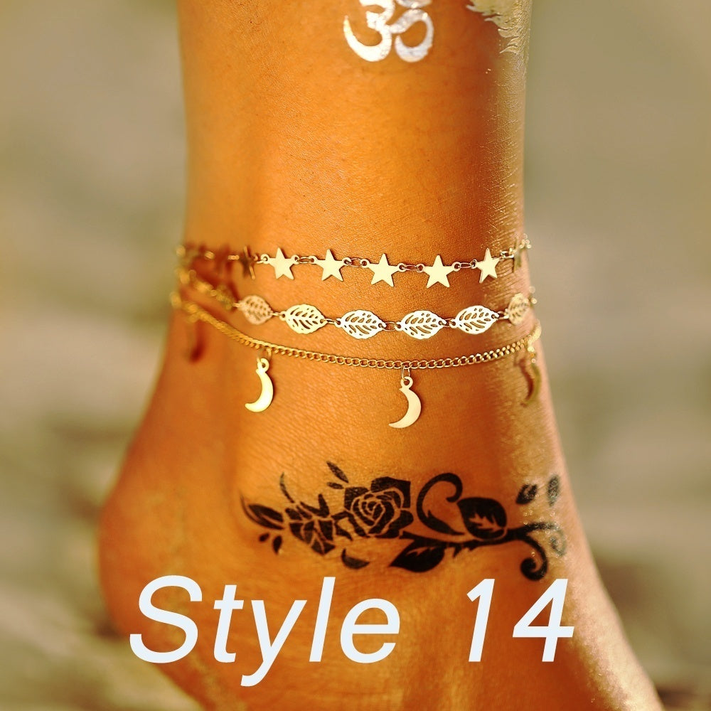 2019 Starfish Shell Pendant Anklets Set for Women New Stone Beads Shell Chain Anklet Bohemian Bracelets Seahorse Tortoise Mermaid Tail Charm Stone Beads Anklets Bracelet Boho Summer Beach  Jewelry Gifts