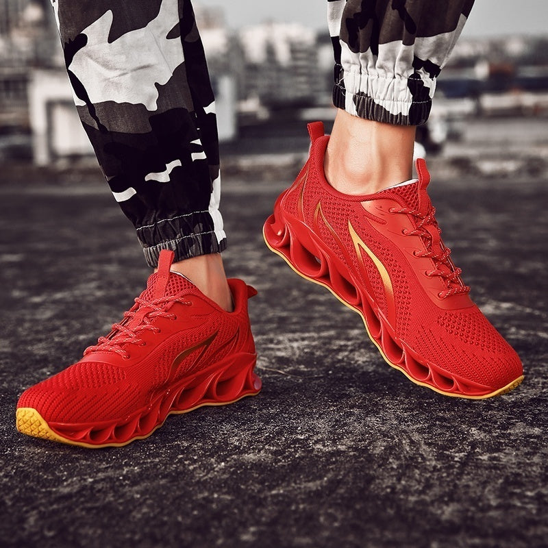 Newest Men's Flame Printed Sports Shoes Flying Weave Sneakers Comfortable Running Shoes Outdoor Men Athletic Shoes