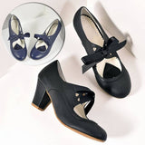 Women Fashion Vintage Chunky Heels Mary Jane Pumps Block Heels Bowknot Shoes Leather High Heels