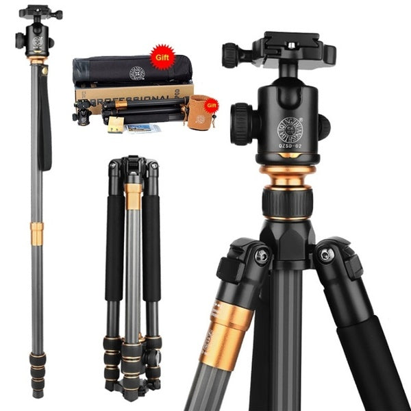 New Q999C Carbon Fiber Professional Tripod Monopod Ballhead Changeabel for DSLR Camera 1400g Netweight 159cm Max Height