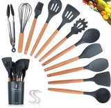 8PCS/11 PCS Creative Silicone Kitchenware Slip Wood Handle Kitchenware Nonstick Pan Silicone Cooking Spoon Shovel