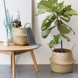 Pastoral wind straw folding flower pot Storage basket Living room flower gardening decoration portable plant rattan flower basket