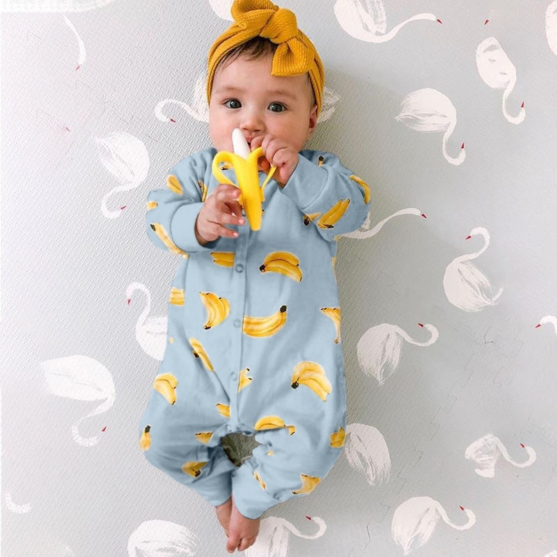 Newborn Infant Clothes Baby Girl and Boy Kids Toddler Newborn Swaddle Cute Banana Print Jumpsuit Long Sleeve Coat No Hairband