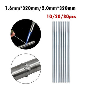 10/20/30PCS Aluminum Welding Brazing Rod Low Temperature Aluminum Solder Rod Welding Wire (Size:320mm*1.6mm/320mm*2.0mm)