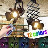 12Colors Colorful RGB Wall Stretch Lamp 110V/220V Mrosaa Retro Industrial LED Ceiling Light E27 Bulb Indoor LED Lamp for Coffee Shop Clothing Store Bar Art Exhibition Studio with Remote Control RGB Color Light Bulb