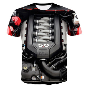 (XS-5XL)new ford mustang engine 3D T-shirt O-neck popular mens popular short sleeve tshirt Lively