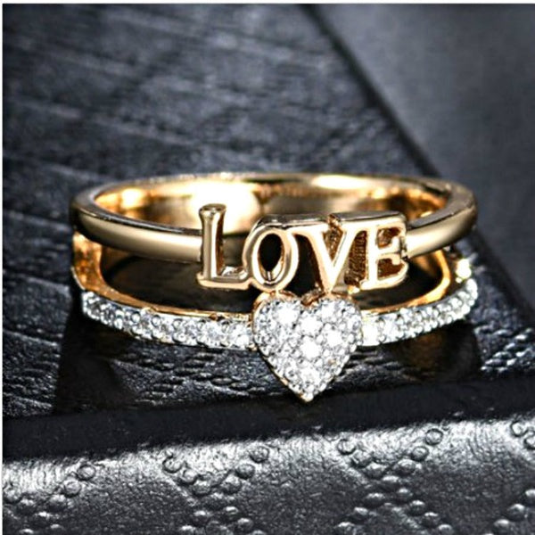 High Quality Exquisite Natural White Sapphire Gemstone LOVE Love Double Gold Ring Anniversary Engagement Ring Female Wedding Ring
