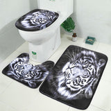 1/3/4pcs Tiger Black Waterproof Printing Bathroom Shower Curtain Toilet Cover Mat Non-Slip Rug