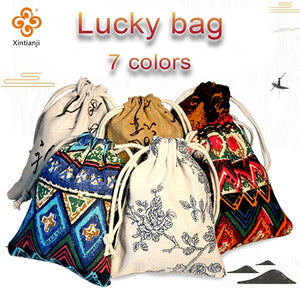 Chinese Colorful Linen Fabric DIY Lucky Bag Hangmade Gifts Bag Jewellery Bag To Your Family and Friends or Yourself Gifts Lucky Bag