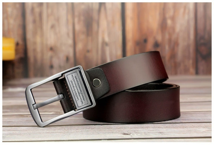 Fashion Men's Dress Genuine Leather Belts 100cm-150cm Length Alloy Prong Buckle Classic Stitched Designer Regular Big & Tall Sizes Pin Buckle Belt 100cm-150cm Length