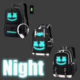 Hot Marshmello DJ Boy Anti-theft USB Charging Girl Luminous Backpack Travel Backpack Students School Bag
