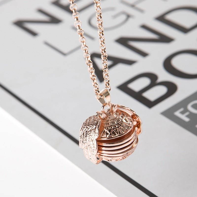 Photo necklace wing necklace multi - layer photo can open item box aroma pendant