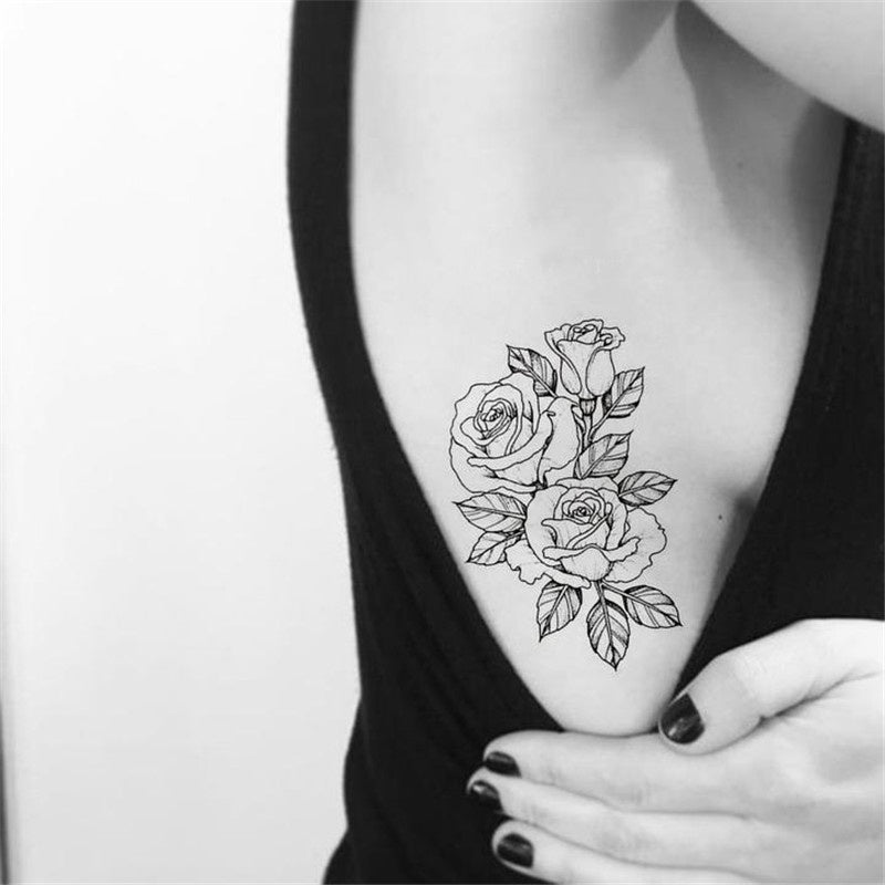 2pcs Vintage Floral Flower Rose Outline Linework Temporary Tattoo