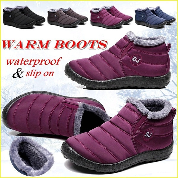 Women Winter Thicken Warm Boots Wool Cotton Shoes Ankle Boots Waterproof Bottes De Neige Size 35-43