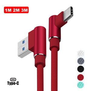 3~10ft Elbow Braided Micro USB Type C Data Sync Charger Cable For Android/iPhone