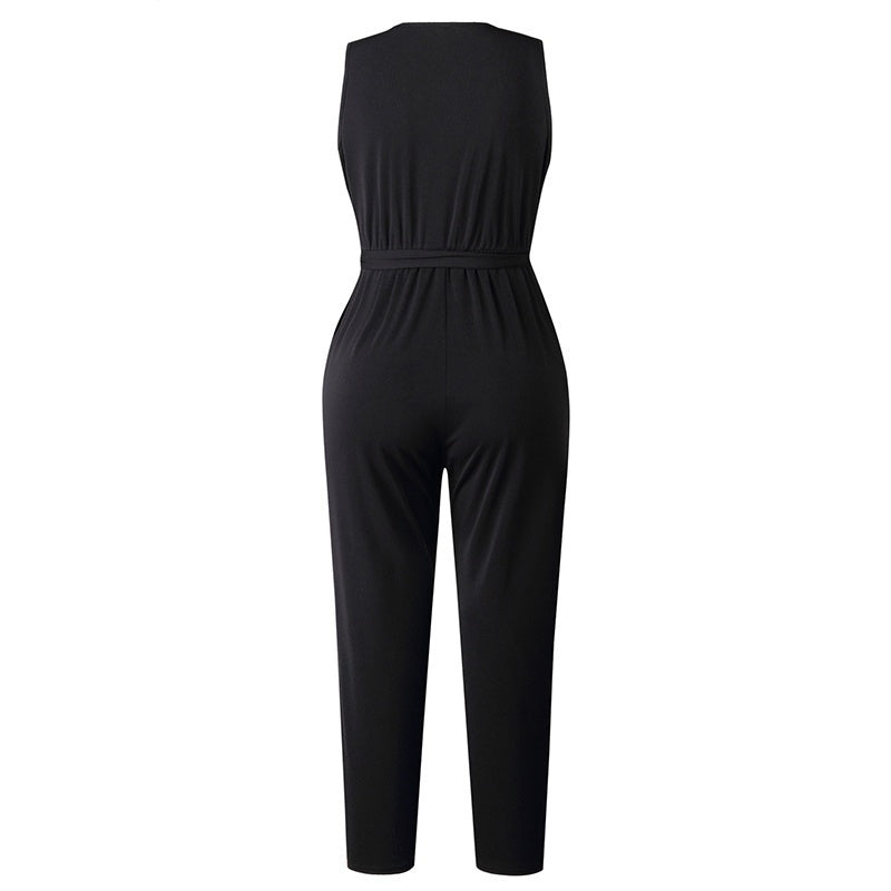 Women's Summer 2019 New Fashion V-neck Lace Sleeveless Solid Color Black Jumpsuit Jumpsuit Office Clothing