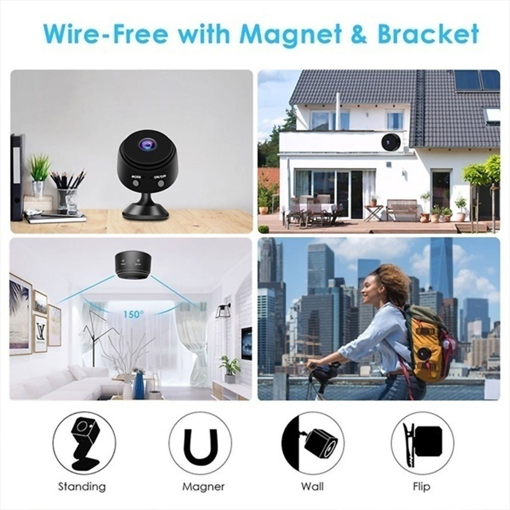 Mini WIFI SPY Hidden Camera HD 1080P Video Camera 150Degree Wide-angle Lens Infrared LED Night Vision WIFI Camera Network Monitoring Intelligent Monitoring Home Security Camera(Free: 1 x Camera bracket)