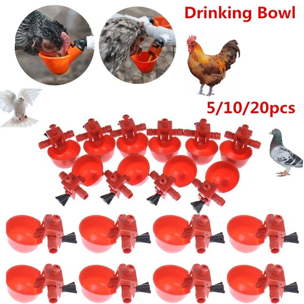 5/10/20 pcs Automatic Poultry Automatic Quail Water Drinker Drinking bowl Bird Coop Chick Feed Cup