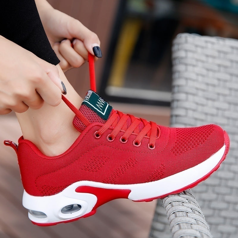 Women Air Cushion Running Shoes Sports Tennis Shoes Breathable Lightweight Sneakers Comfortable Mesh Flying Woven Shoes