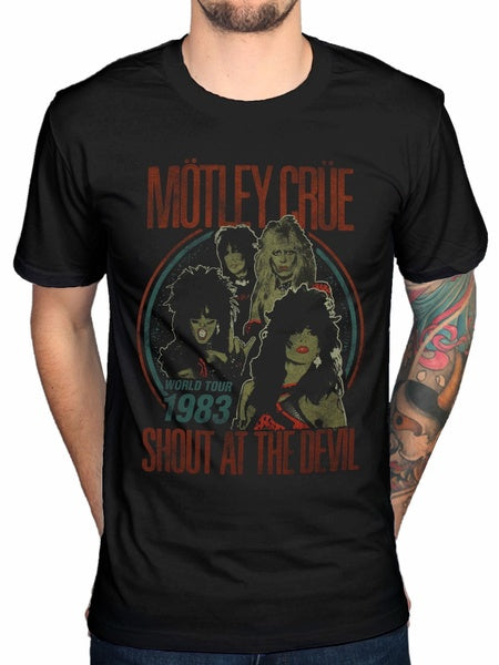 Motley Crue Vintage World Tour T Shirt All Bad Thing Devil Alice Cooper Men'S O Neck Printed Tee Shirt