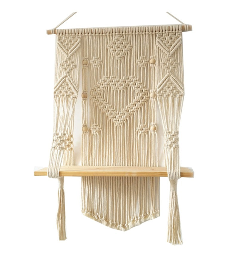 Woven Macrame Plant Hanger Wall Hanging Boho Wall Art with Tassels