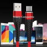 3.3FT/6.6FT/10FT USB Charging Cord High Tensile Durable Braided Fast Charging Cable Micro Usb Type-C for Android Samsung Huawei Moto BlackBerry...