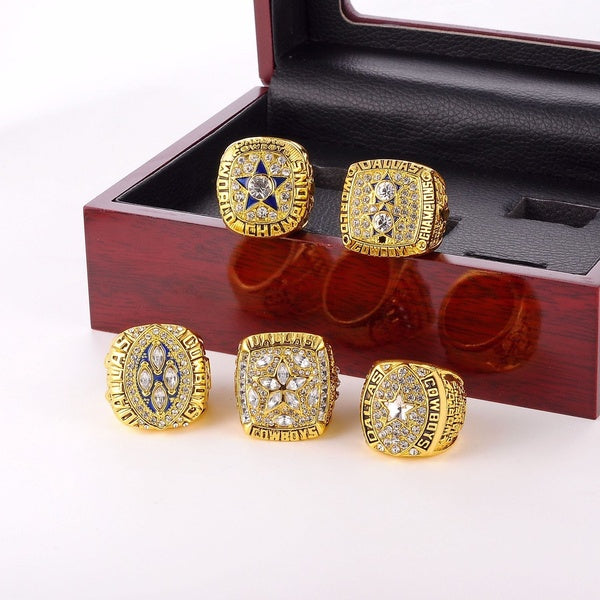 New Super Bowl Cowboys Championship Ring Set with Wood Box Case