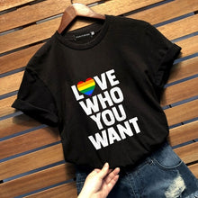 Load image into Gallery viewer, 2019 New Fashion Casual Lgbt Gay Pride T Shirt Lesbian Pride Love Who You Want Letter Printed Gay Shirts Tops