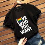 2019 New Fashion Casual Lgbt Gay Pride T Shirt Lesbian Pride Love Who You Want Letter Printed Gay Shirts Tops