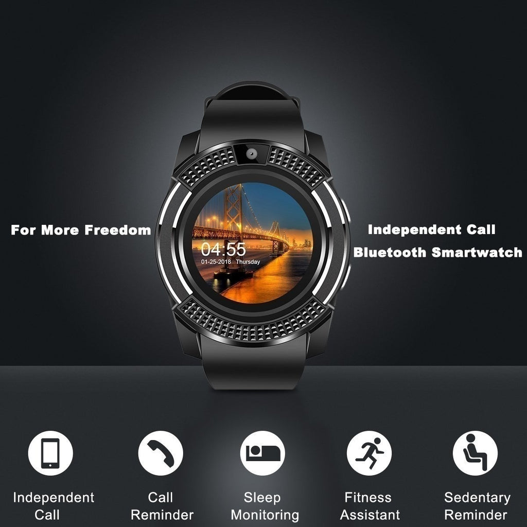 New V8 Bluetooth Smart Watch Men with Camera Bluetooth Smartwatch Pedometer Heart Rate Monitor Sim Card Wristwatch