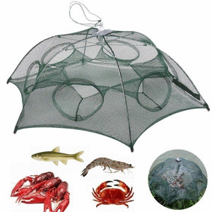 6 Holes/8 Holes Automatic Fishing Net Shrimp Cage Nylon Foldable Crab Fish Trap Cast