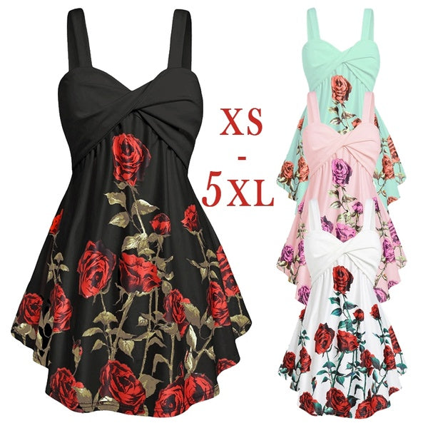 ETlieren Sleeveless Floral Print Ruffle Tank Tops Ladies Fashion Camisole Top Blouse