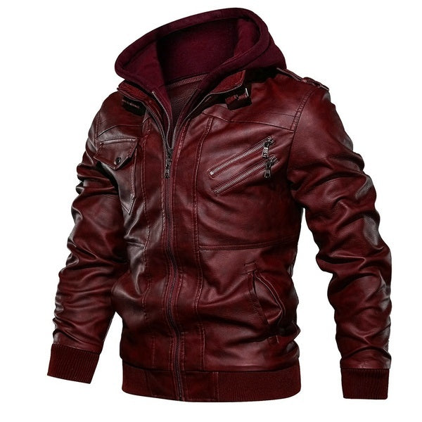 Men Winter Hooded Leather Jacket Plus Size Casual Slim Fit Biker Jackets Motocycle Zipper Warm Leather Coat Outerwear Jackets