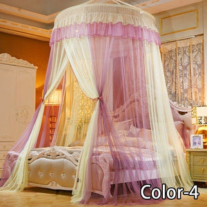 Ceiling Mounted Mixed Colors Lace Mosquito Net Home Dome Foldable Bed Canopy with Hook Princess Tent Bed Curtain Twin Full Queen King Summer for Home Travel