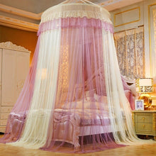 Load image into Gallery viewer, Ceiling Mounted Mixed Colors Lace Mosquito Net Home Dome Foldable Bed Canopy with Hook Princess Tent Bed Curtain Twin Full Queen King Summer for Home Travel