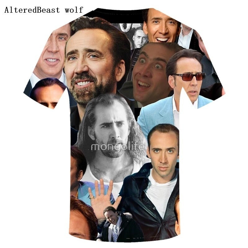 Nicolas Cage Overload Paparazzi Summer Funny Casual Tee Men's Short Sleeve Clothing