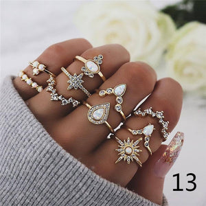 16style Retro Beauty Crystal Diamond Avatar Gold Coin Cross Ring Set Pattern Love Fatima Palm Diamond  Ring Set for Women