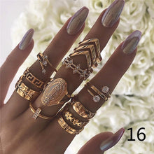 Load image into Gallery viewer, 16style Retro Beauty Crystal Diamond Avatar Gold Coin Cross Ring Set Pattern Love Fatima Palm Diamond  Ring Set for Women