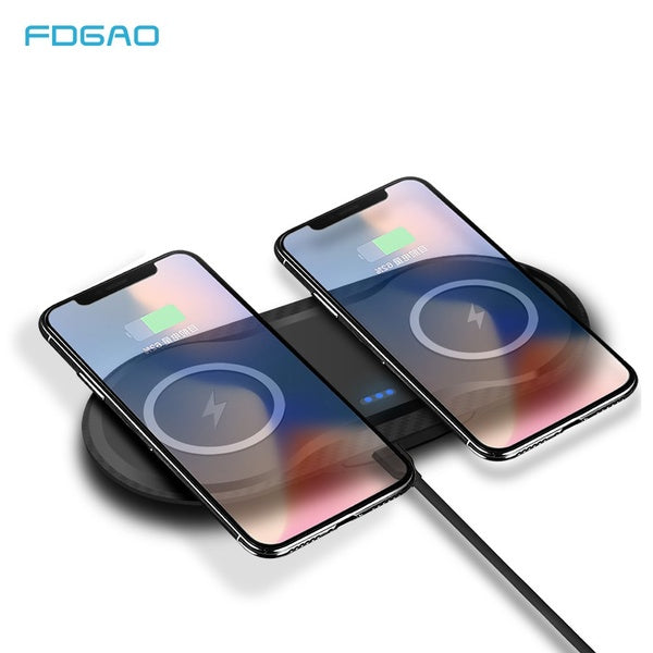 FDGAO 5W & 5W  Phone Wireless Charging Pad 2 In 1 Fast Charger Dock for All Qi Standard Iphone Samsung Huawei