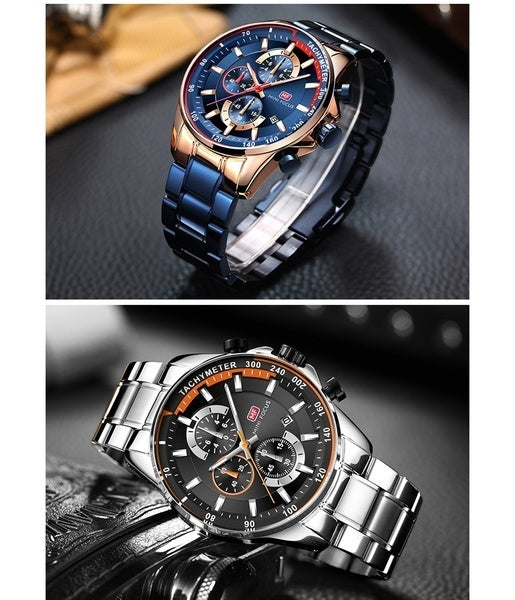 Luxury Men's Rose Gold Watches MINI FOCUS Brand Top Military All steel Wrist Watch Fashion Men Watch Waterproof Quartz Watches Gift box