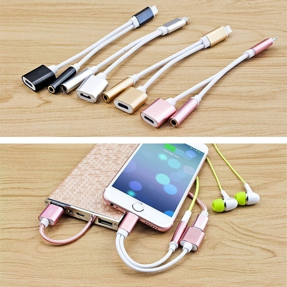 2in1 3.5mm Adapter Splitter Lightning Connector Headphone Charger Adapter Cable Lightning Adapter For IPhone X IPhone 8/8Plus IPhone 7/7Plus Only Support IOS10.2 Following System